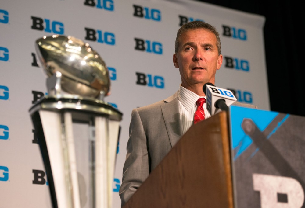 Ohio State head football coach Urban Meyer responds to questions from the press at Big Ten Media Days at McCormick Place in Chicago, Illinois on Thursday, July 30.