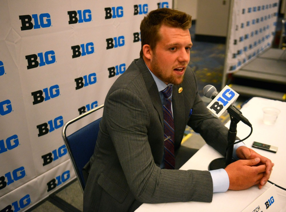 University football quarterback Mitch Leidner responds to questions from the press at Big Ten Media Days at McCormick Place in Chicago, Illinois on Thursday, July 30.