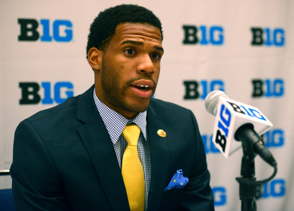 University football defensive back Brian Boddy-Calhoun responds to questions from the press at Big Ten Media Days at McCormick Place in Chicago, Illinois on Thursday, July 30.