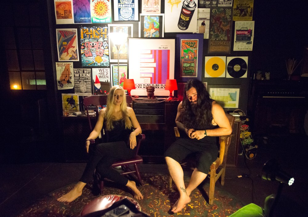 Kristine Stresman and Shön Troth of Enemy Planes sit in their practice space on September 3, 2015. The band recently won an international battle of the bands in Barcelona.
