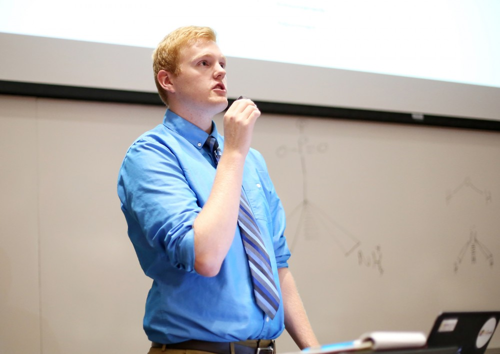 Speaker of the Forum, Junior William Damman, kicks off MSA's first meeting of the school year on Tuesday evening.