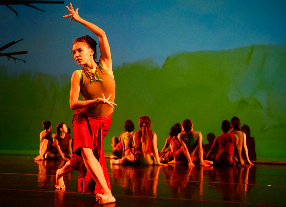 The Ananya Dance Theatre rehearses at the O'Shaughnessy Auditorium in St. Catherine University on Wednesday evening.