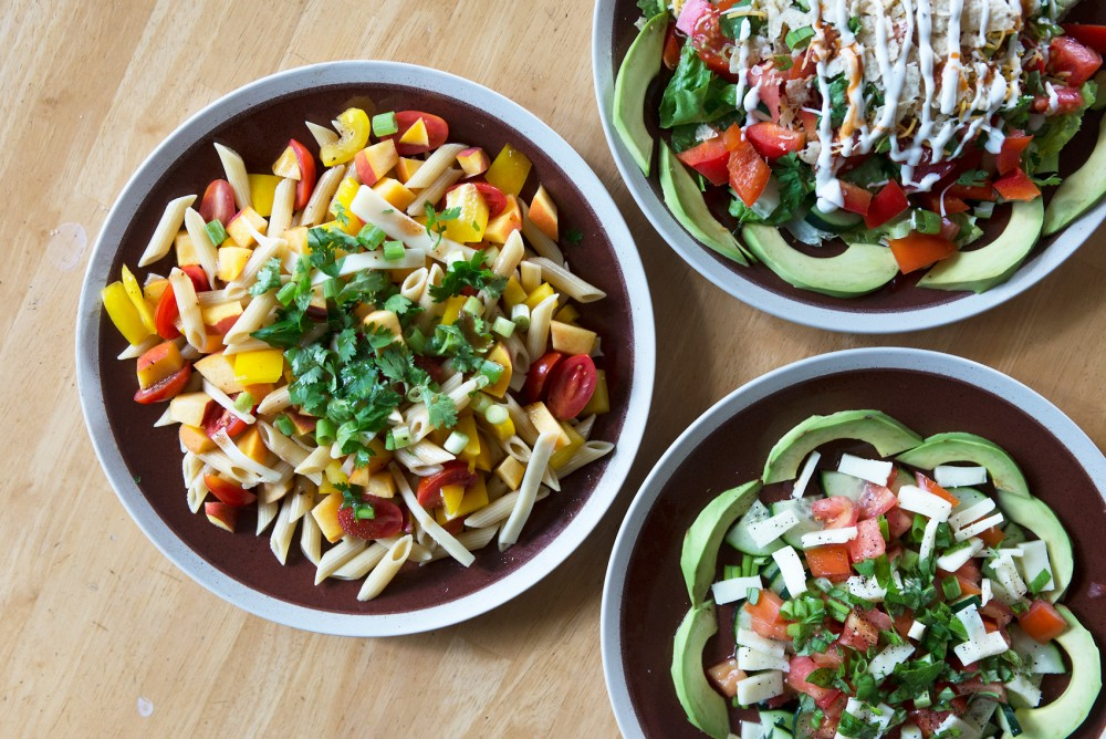 The North of the Border, The Italian and The Promethean Pasta Salad are all examples of salads that don't have to be healthy.