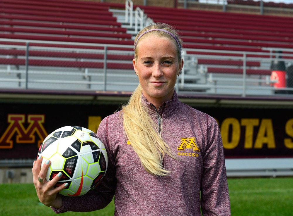 Freshman Hugrun Friedriksdottir, midfielder from Iceland,  stands in Elizabeth Lyle Robbie Stadium Sunday morning. Friedriksdottir traveled about 3,000 miles from Iceland to play for the Gophers, however she's having to adjust to the U.S. while recuperating from a recent ACL injury.