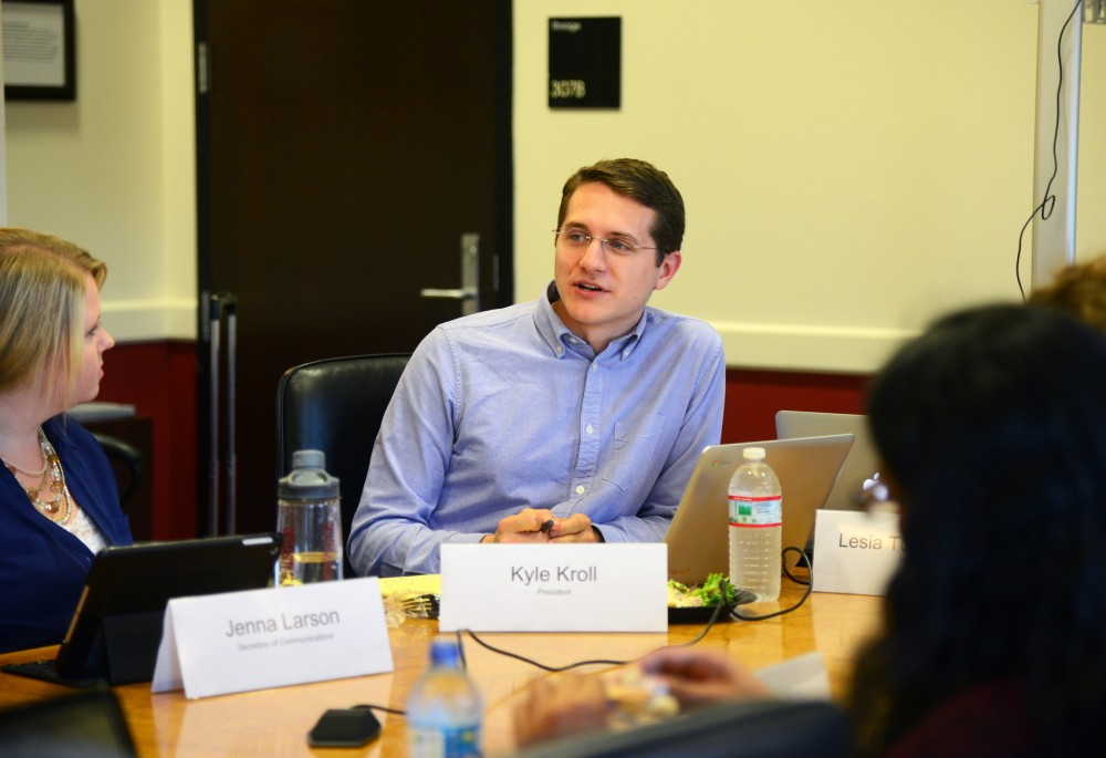 President of Professional Student Government Kyle Kroll speaks at the first Congress meeting of the year in Coffman Memorial Union on Tuesday. Kroll was recently elected to the position and delivered his first State of the Union address to current members.