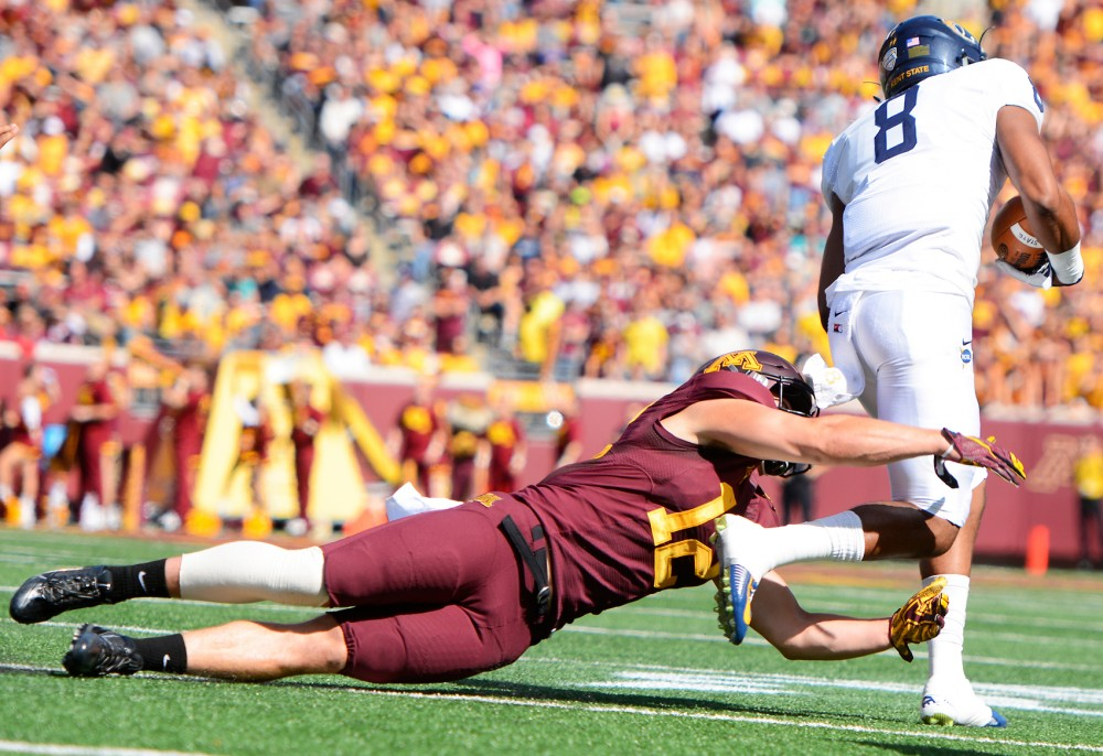Line back Cody Poock at TCF Bank Stadium on Saturday where the Gophers defeated Kent State 10-7.