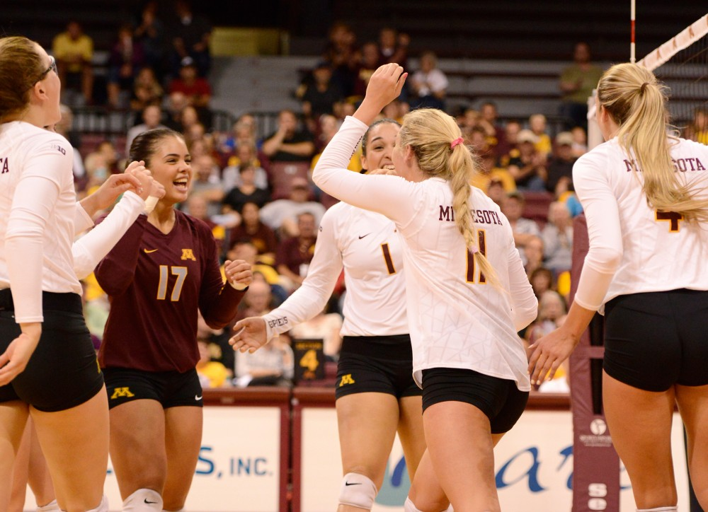 The Minnesota volleyball team reacts to scoring a point against UC Irvine at the Sports Pavilion on Friday September 11. In late August, Minnesota Volleyball released a video entitled