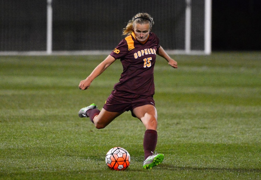 Sophmore Maddie Gaffney kicks the ball at the Elizabeth Lyle Robbie Stadium on Sept. 11 where the Gophers defeated the New Mexico Lobos 1-0. Gaffney's goal was the first of her collegiate career.