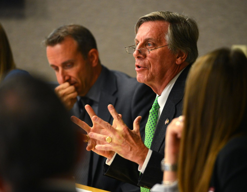 University Regent Thomas Devine speaks at a meeting of the Facilities, Planning & Operations Committee of the Board of Regents on Thursday, October 8.