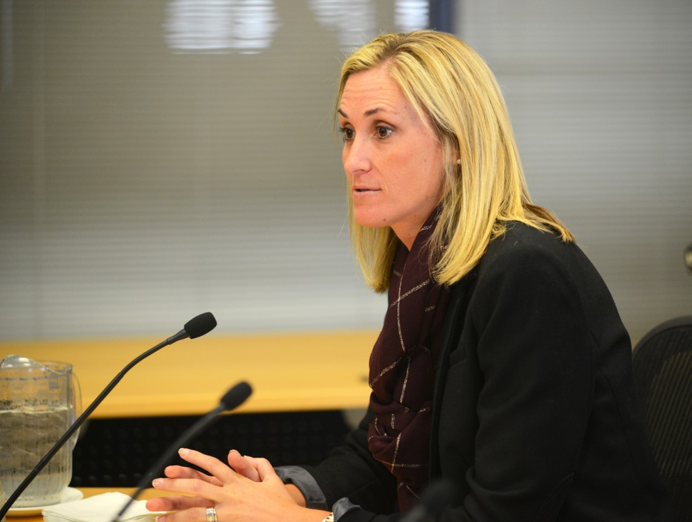 University Interim Athletics Director Beth Goetz presents the proposed schematic design for the new Athletes Village at a meeting of the Facilities, Planning & Operations Committee of the Board of Regents on Thursday, October 8.