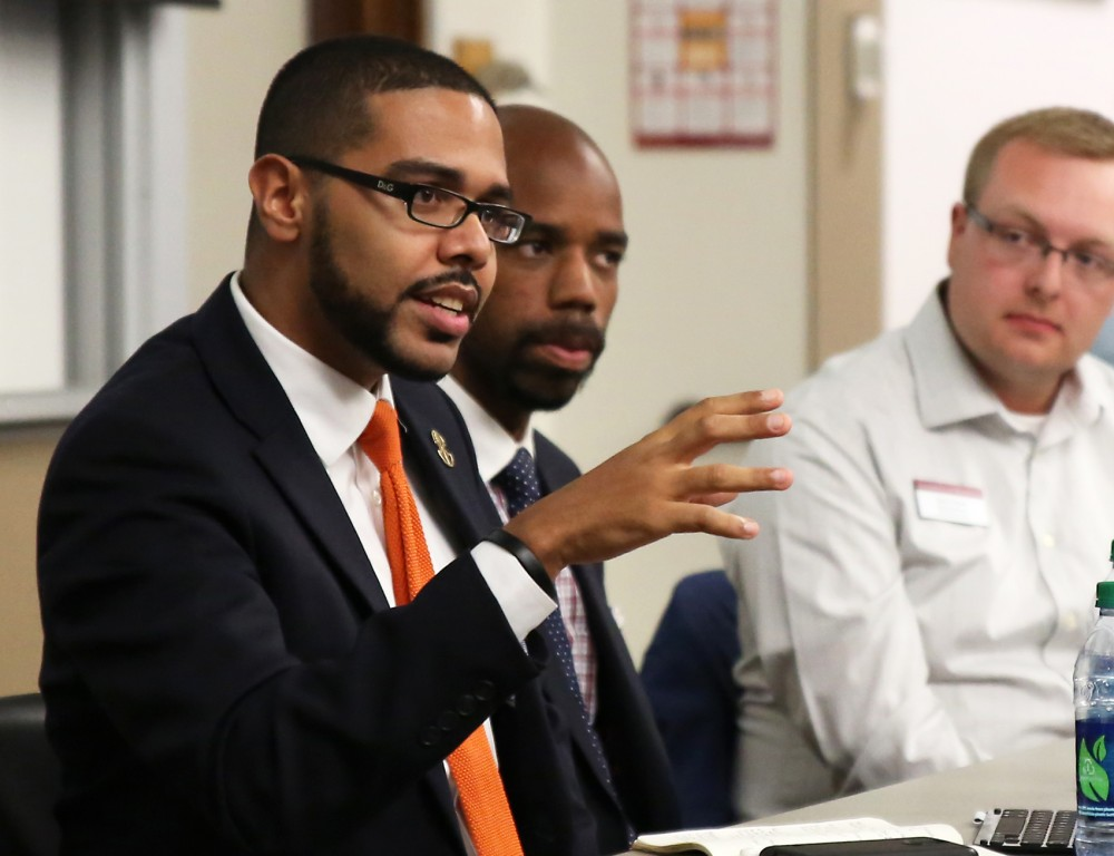 Panelists (left to right) Keith Garcia, Lamar Hylton and Gavin Grivna speak on diversity and toxic masculinity at Fraser Hall on Thursday evening.