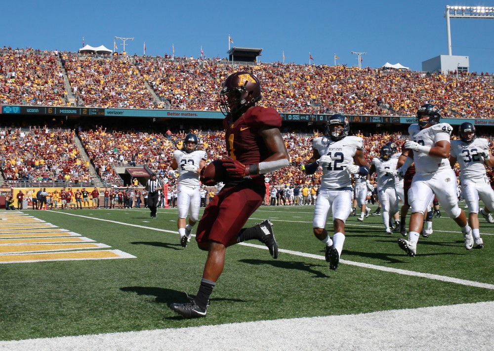 Wide receiver KJ Maye enters the end zone, scoring a touchdown in the second quarter at TCF Bank Stadium on Saturday where the Gophers defeated Kent State 10-7.