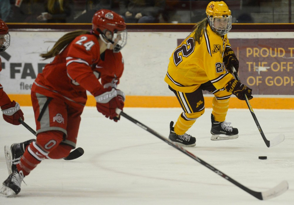 Minnesota forward Hannah Brandt handles the puck against Ohio State University at Ridder Arena on Jan. 31.