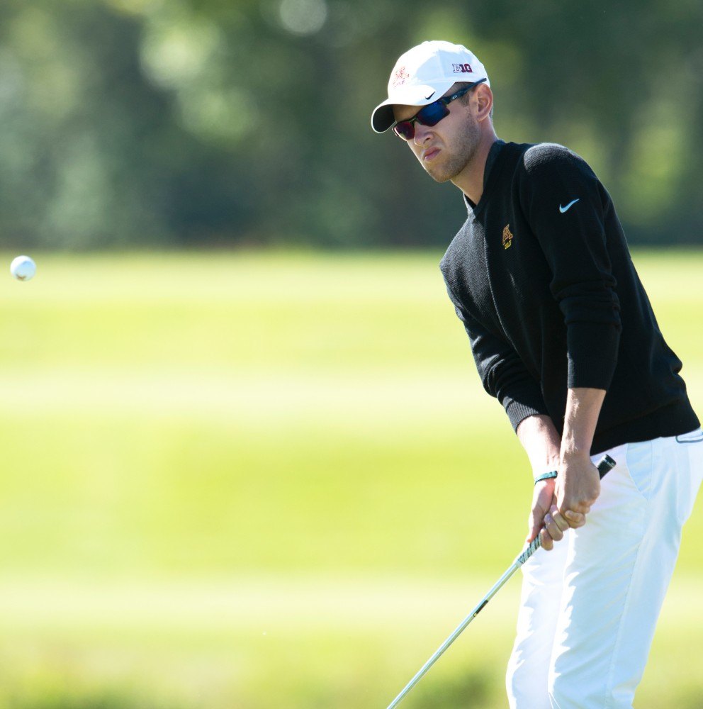Senior Jon DuToit plays at the Windsong Golf Club on Sept. 13 at the Gopher Invitational.