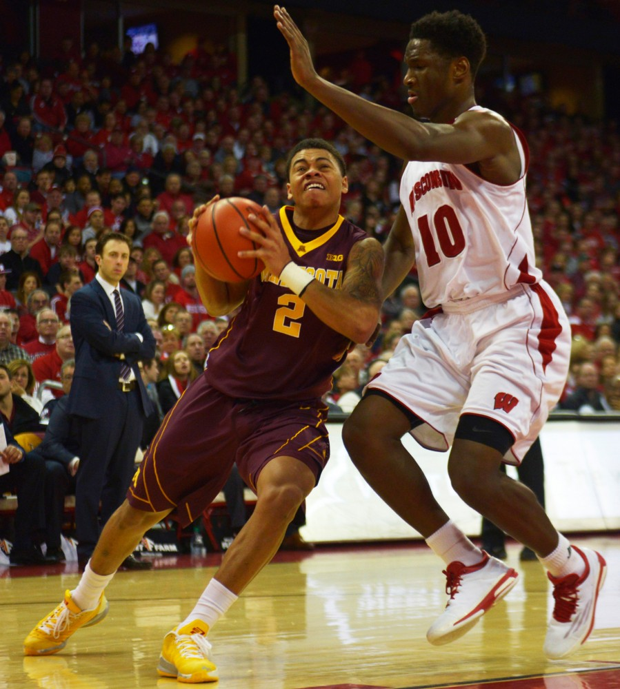 Minnesota guard Nate Mason drives the ball to the basket in the second half against the Badgers on Feb. 21, 2015 in Madison, Wis.