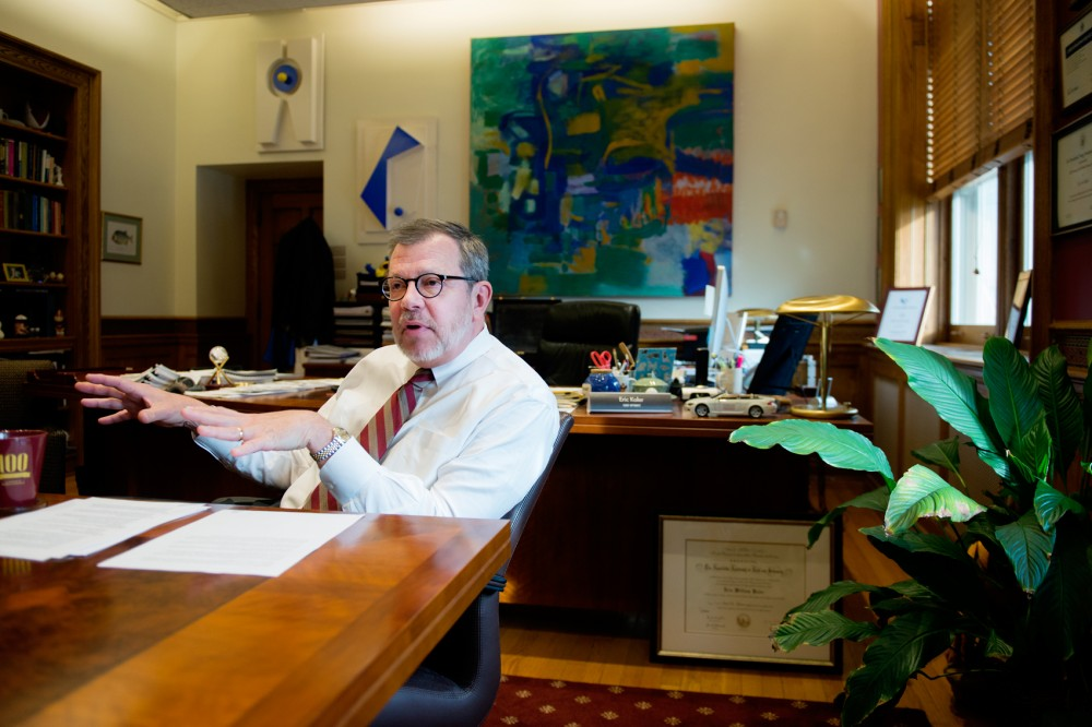 University President Eric Kaler fields questions for the Minnesota Daily inside his office in Morrill Hall on Tuesday.