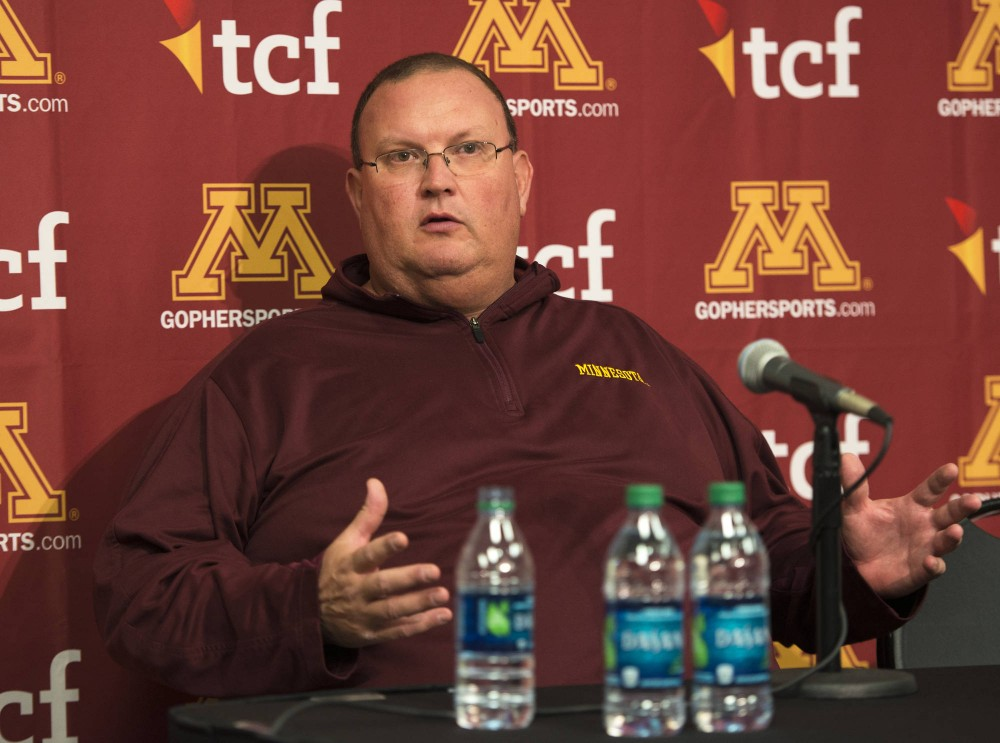 Interim head coach Tracy Claeys speaks at a press conference regarding Jerry Kills resignation on Wednesday. Kills departure came as a shock to Claeys and the team.