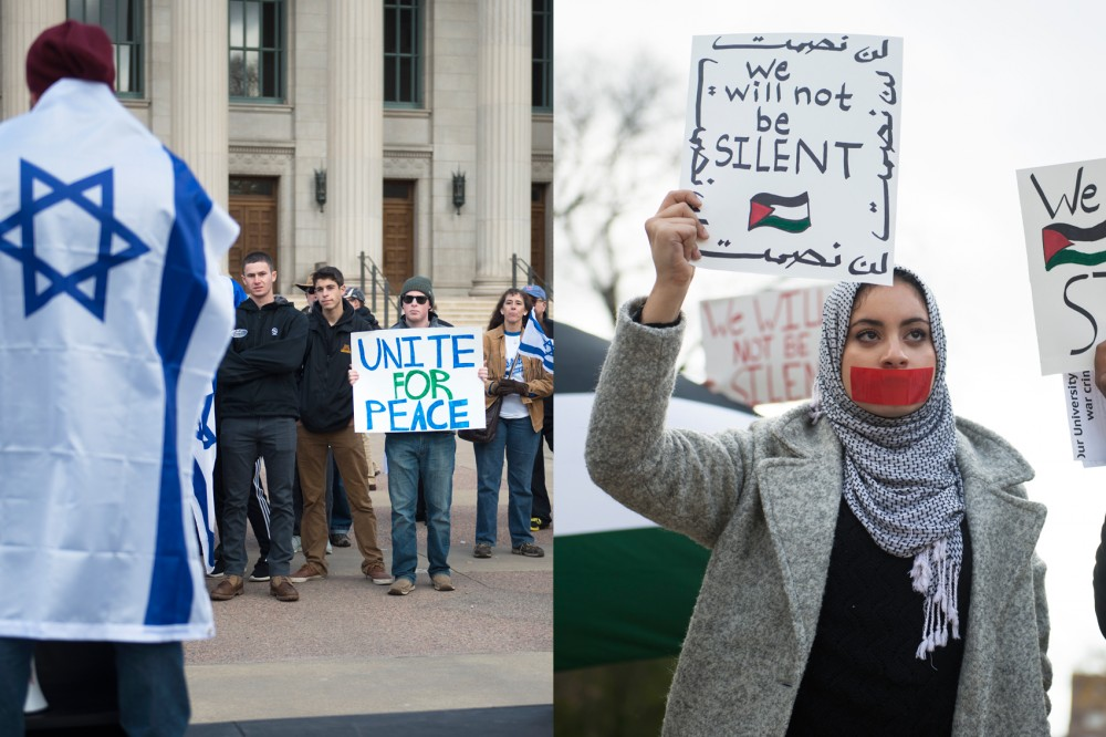 (left) Members of Students Supporting Israel gather outside Northrop on Friday to show their support for Israel. The group held the rally to protest terrorism.