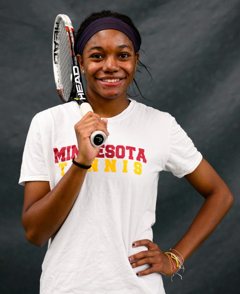 Minnesota senior Jessika Mozia poses in the Baseline Tennis Center on Friday afternoon.