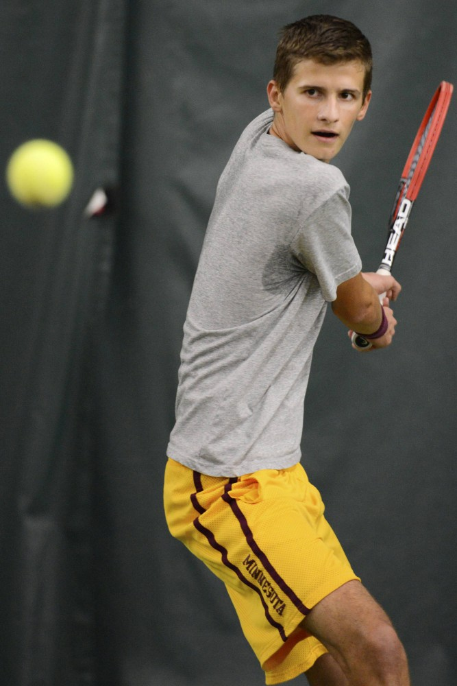 Freshman Marino Alpeza from practices in the Baseline Tennis Center on Friday, Oct. 23.