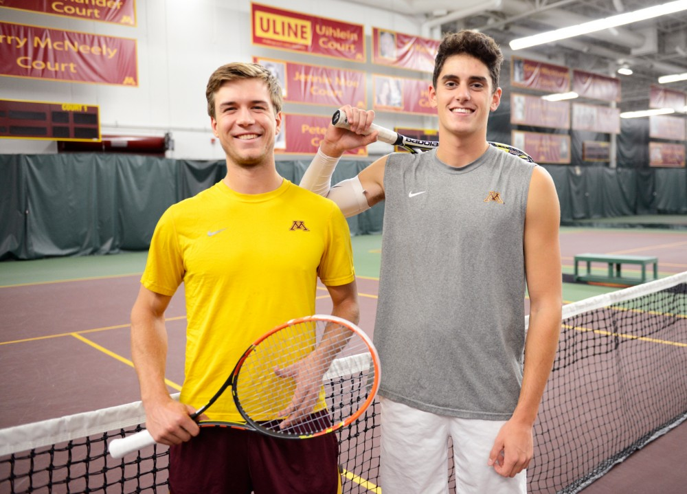 Gophers tennis players Matic Spec, left, and Felix Corwin pose in the Baseline Tennis Center on Monday afternoon.