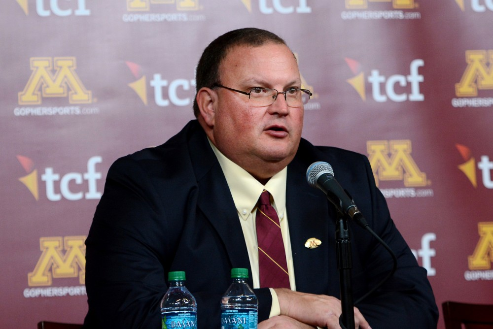 Tracy Claeys speaks at a press conference after being named head coach at TCF Stadium on Wednesday. Claeys mentioned that former head coach Jerry Kill would be welcome at any time as a staff member or as a friend to the football team.