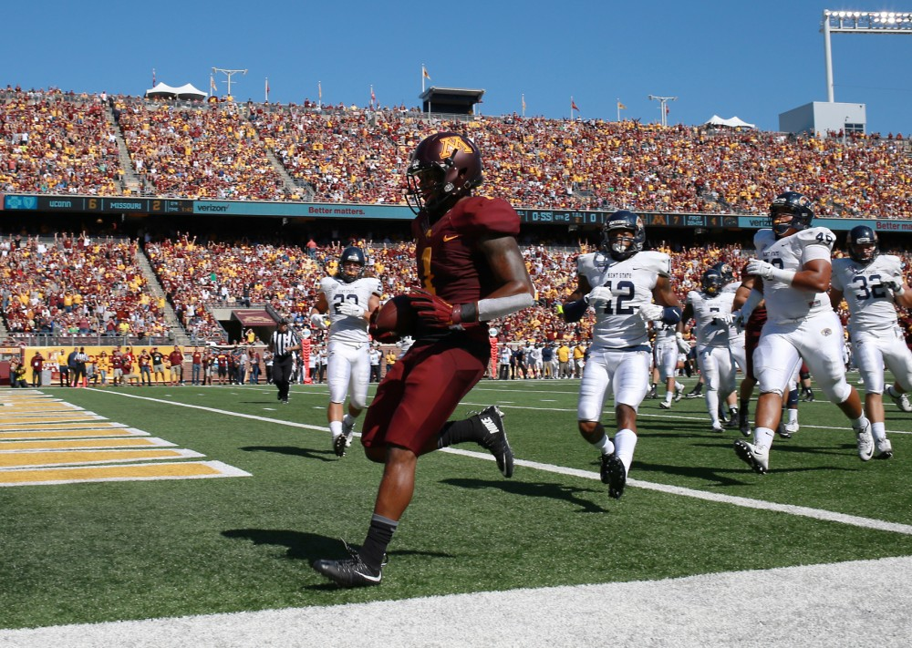 Wide receiver KJ Maye enters the end zone, scoring a touchdown in the second quarter at TCF Bank Stadium Sept. 19 where the Gophers defeated Kent State 10-7.