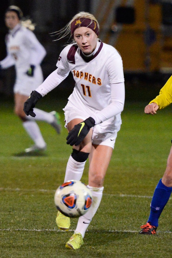 Gophers midfielder Josee Stiever kicks the ball downfield at Elizabeth Lyle Robbie Stadium where Minnesota hosted the first round of the NCAA tournament against South Dakota State on Friday night.
