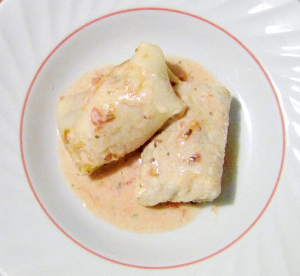 Hungarian crepes, palacsinta, filled with porkolt, a Hungarian stew. Palacsinta can be made savory or sweet, similar to French crepes.