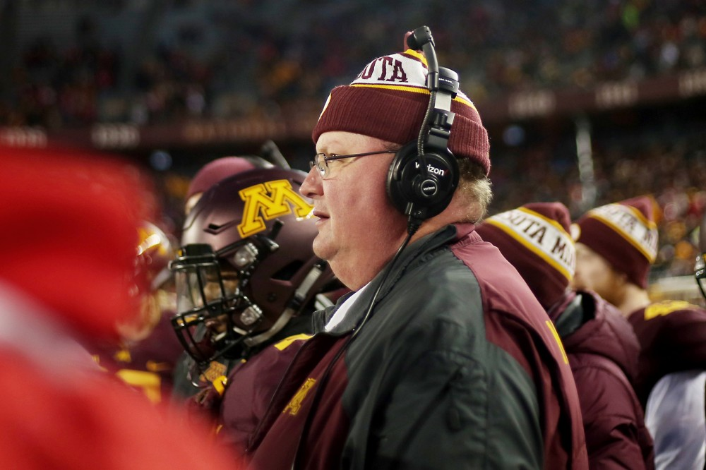 Head coach Tracy Claeys  watches the Gophers play their last game of the 2015 season against the University of Wisconsin Madison where they lost 31-21 Saturday evening at the TCF Bank Stadium.