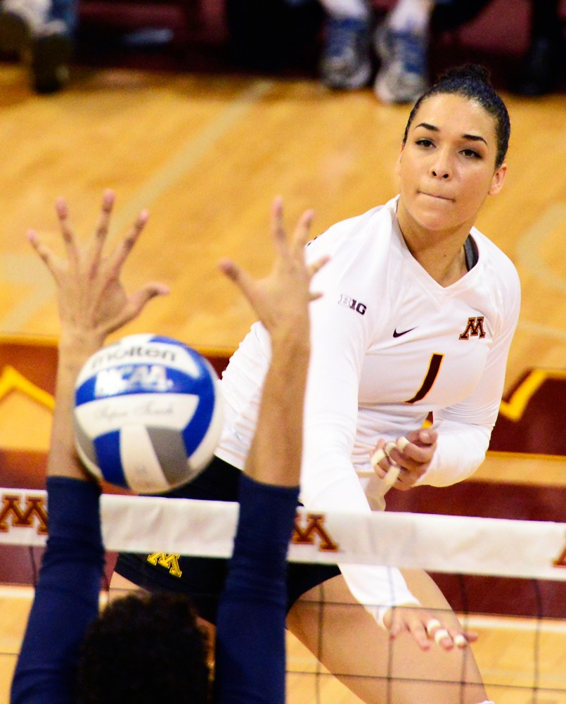 Outside hitter Daly Santana strikes the ball against Penn State in the Sports Pavilion on Saturday, Nov. 14.