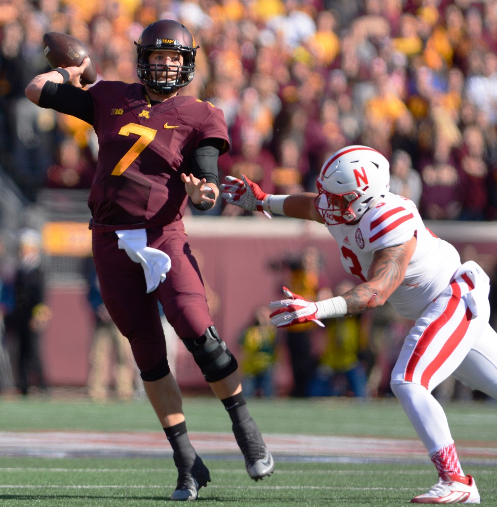 Quarterback Mitch Leidner throws a pass at TCF Bank Stadium on Oct. 17, where Minnesota played the Nebraska Cornhuskers.