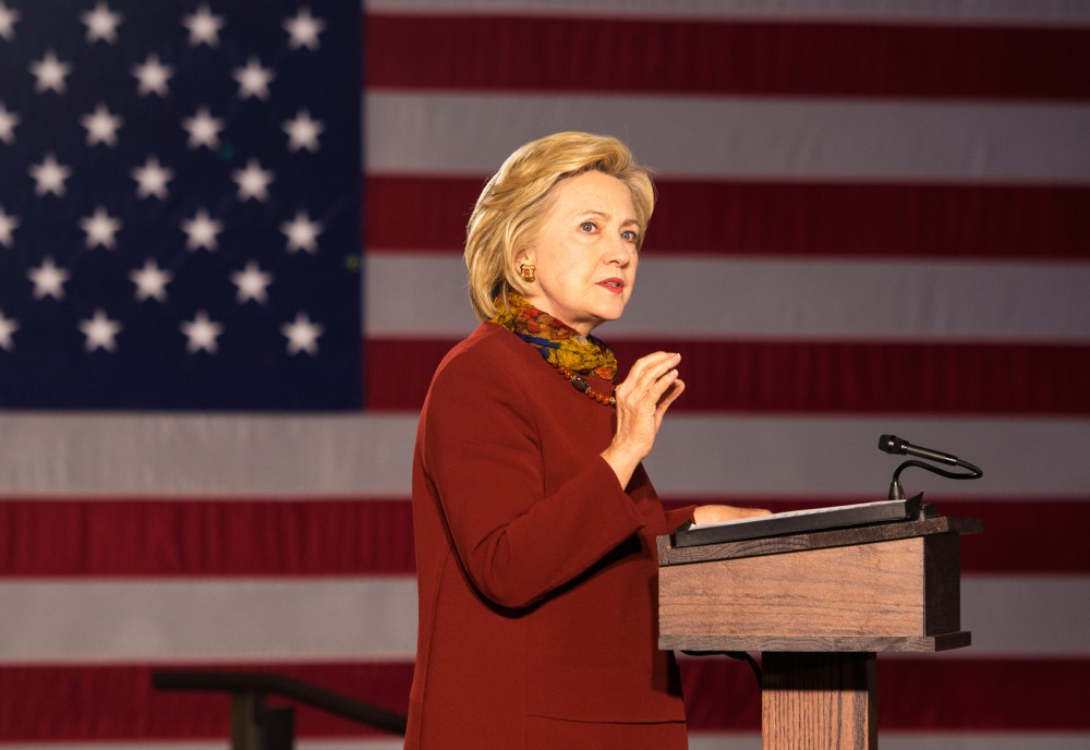 Democratic presidential candidate Hillary Clinton speaks to a crowd at the McNamara Alumni Center on Tuesday where she outlined her intentions to combat terrorism on an international level as well as the home front.