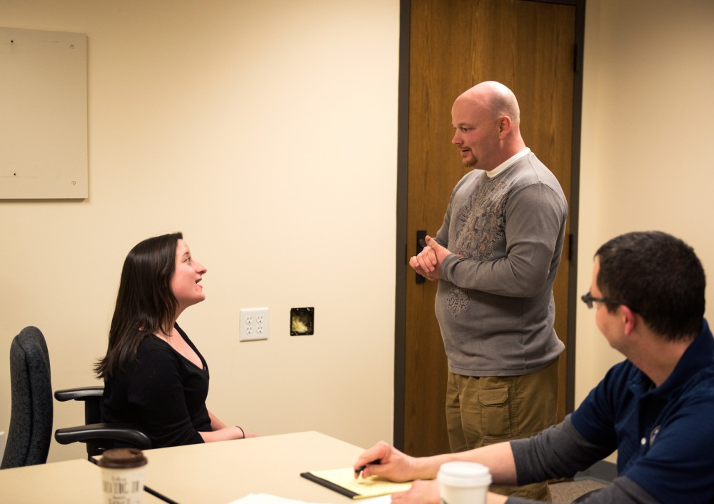 Actress Danielle Krivinshuk plays the role of a university student in crisis as UMPD Sgt. Peter Reineke responds to the situation. Crisis Intervention Team training is a popular method for police departments across the country for teaching officers how to respond to mental health calls by finding help and resources for the troubled individual.