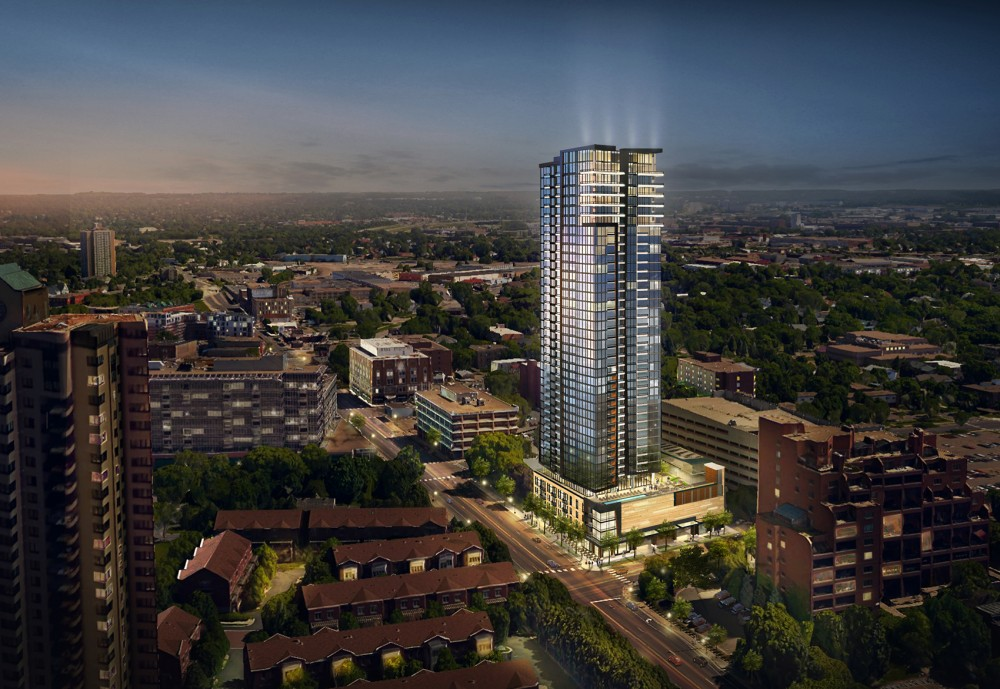 This rendering of a tower proposed by Alatus was presented to the Marcy Holmes Neighborhood Association last week. Alatus leaders hope to begin construction later this year.