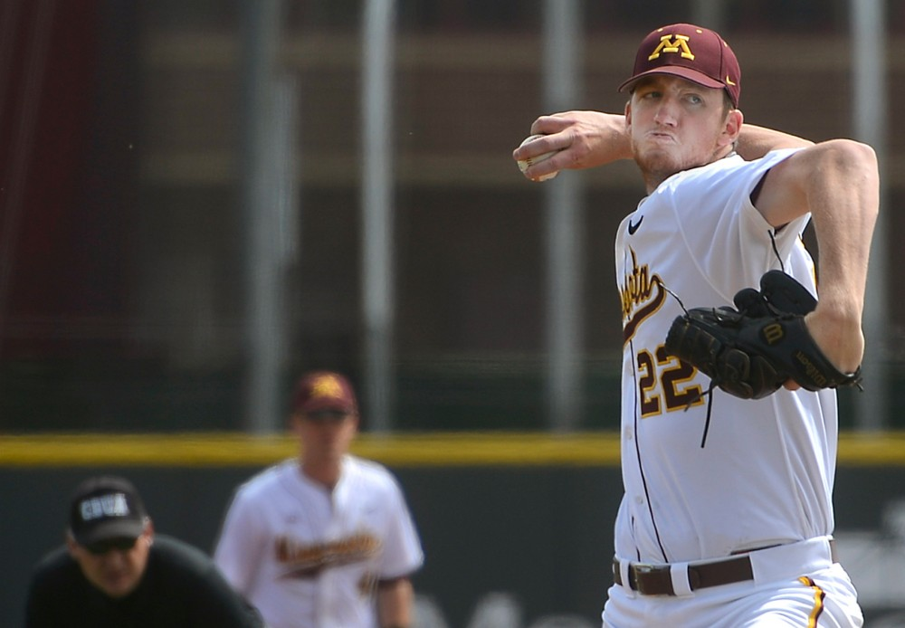 Redshirt Sophomore Tim Shannon pitches the ball at Siebert Field where the Gopher Men's Baseball team took on Penn State on April 18, 2015.