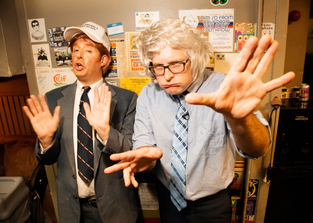 Anthony Atamanuik, left, and James Adomian, right, as Donald Trump and Bernie Sanders.