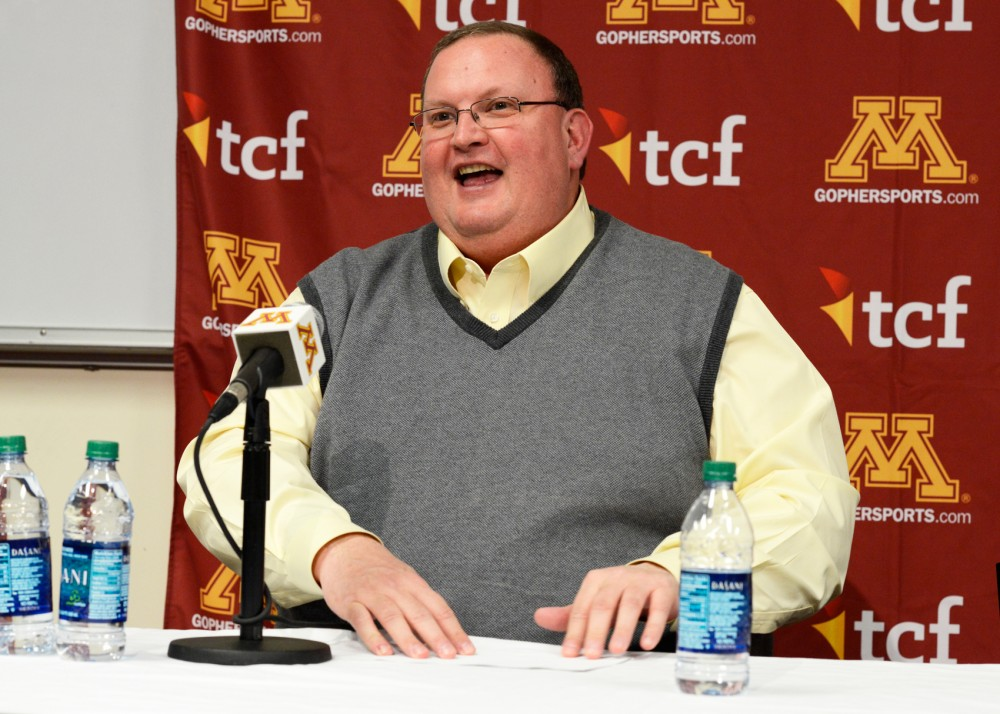 Gophers football head coach Tracy Claeys discusses new recruits who signed on Feb. 3 during a press conference in the Gibson-Nagurski Football Complex on Wednesday afternoon.