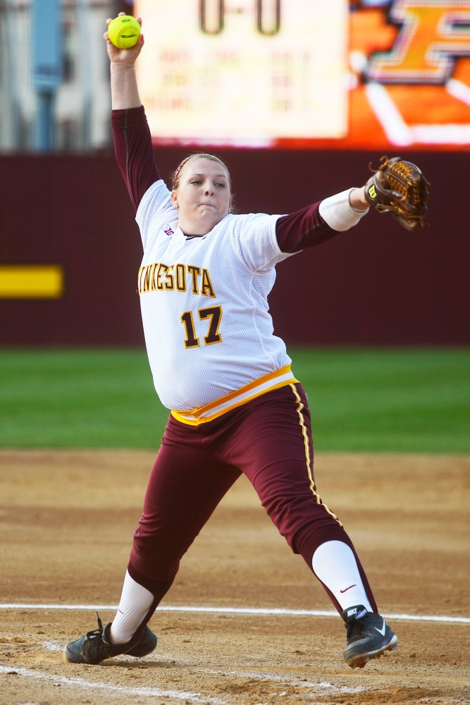 Sara Groenewegen throws the ball at the Jane Sage Cowles Stadium on May 1, 2015.