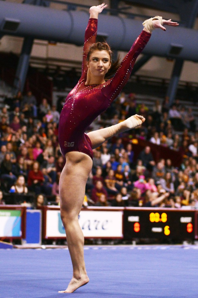 Abby DeMuse performs her floor routine against Illinois at the Sports Pavillion on Feb. 6.