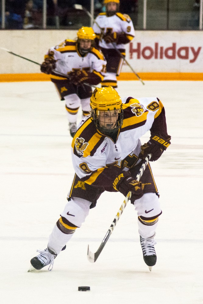 Minnesota forward Amanda Kessel drives the puck down the rink Ridder Arena on Feb. 6.