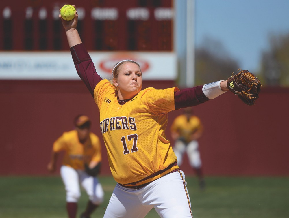 Gophers pitcher Sarah Groenewegen throws out the ball at Jane Sage Cowles Stadium on Apr. 26, 2015.