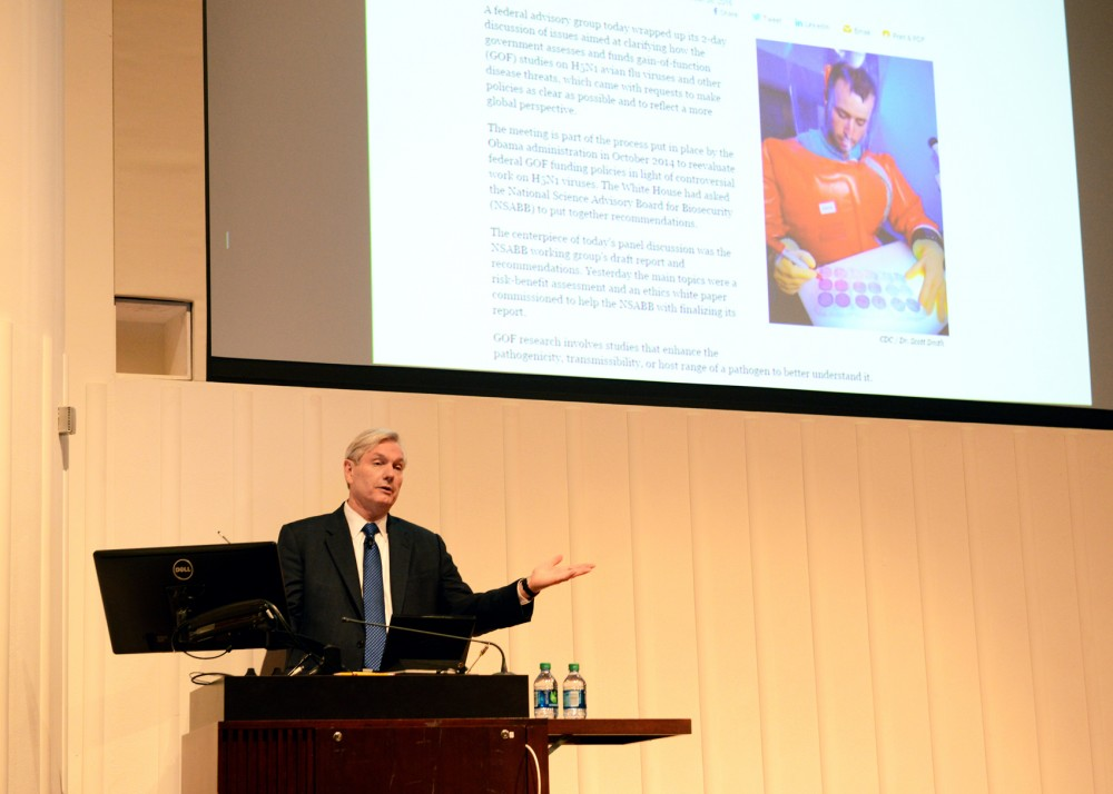 Dr. Michael Osterholm, Professor of Environmental Health Sciences at the University of Minnesota, talks about the importance of international public health responses to rapidly emerging infectious diseases at the Mayo Auditorium on Thursday afternoon.