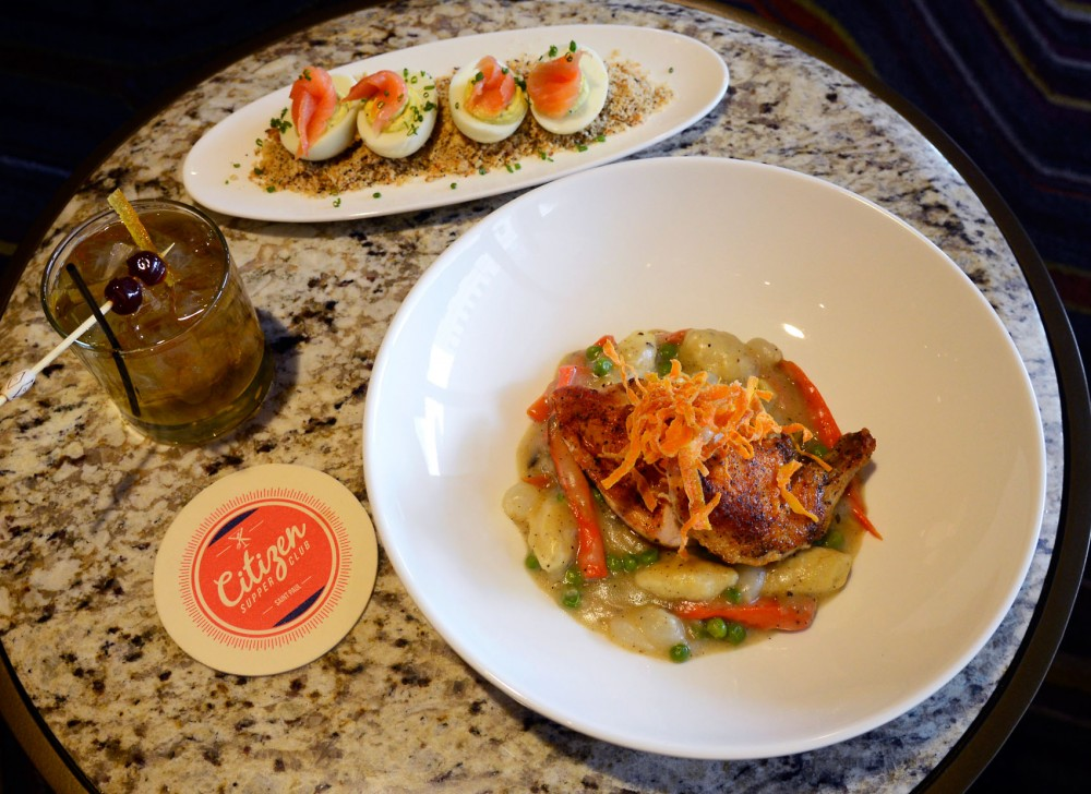 A reimagined Old Fashioned, deviled eggs and chicken and dumplings sit on display at Citizen Supper Club, located within the InterContiental Hotel in downtown St. Paul. The restaurant will be participating in Mpls St. Paul Magazines Restaurant Week from Feb. 21-26.