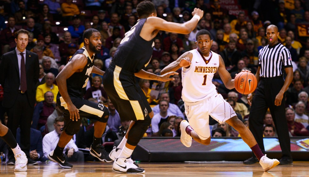 Freshman guard Dupree McBrayer drives towards the basket at Williams Arena on Jan. 27.