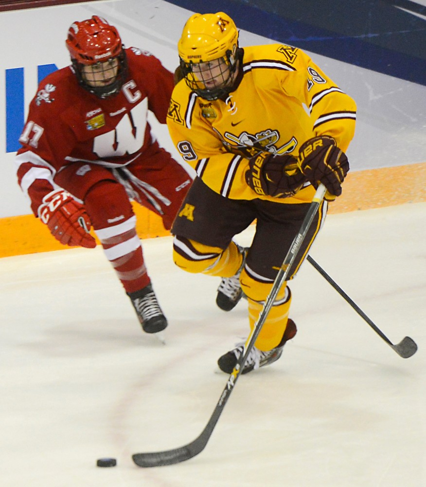 Gophers forward Kelly Pannek skates to the net in the NCAA Women's Frozen Four semifinal round vs. Wisconsin in Ridder Arena on Friday, March 20., 2015.