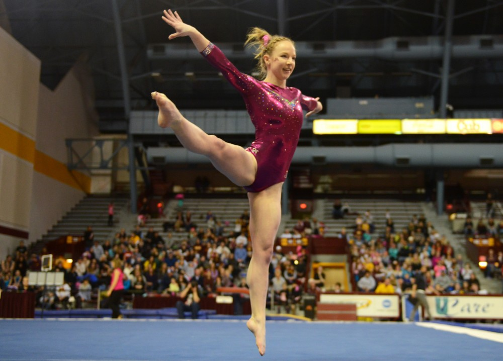 Senior Lindsay Mable performs her floor routine at the Sports Pavilion on Saturday. Mable claimed first place on the floor with a score of 9.900, the highest of the night.