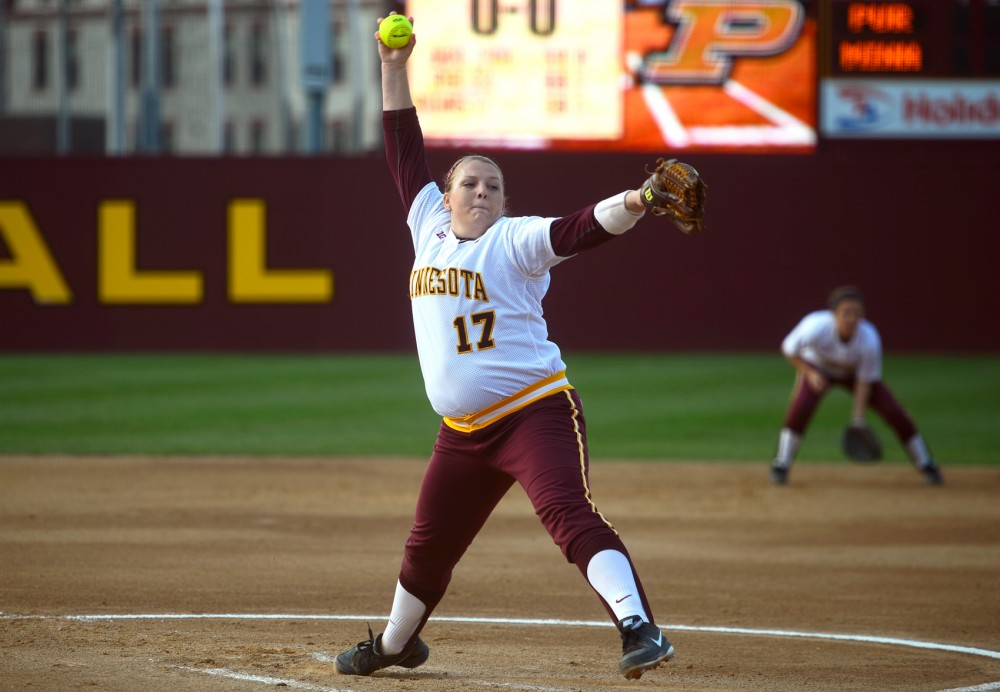 Sophomore pitcher Sara Groenewegen pitches the ball at the Jane Sage Cowles Stadium on Friday, May 1, 2015 against Purdue.