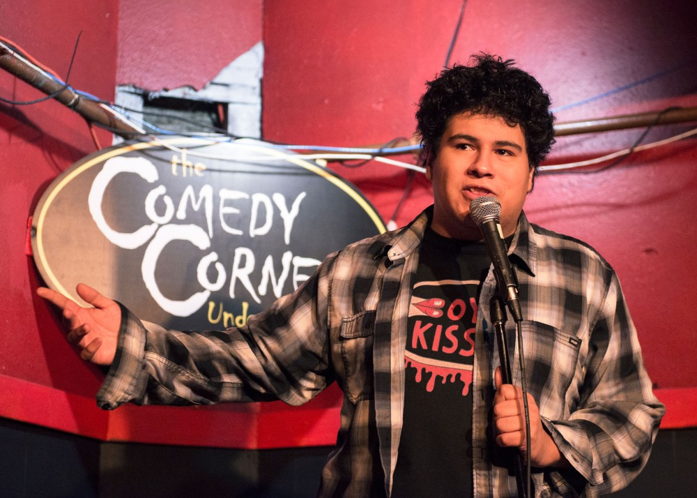 Local comedian Robert Fones performs at an open mic at the Comedy Corner Underground on West Bank on Friday night.