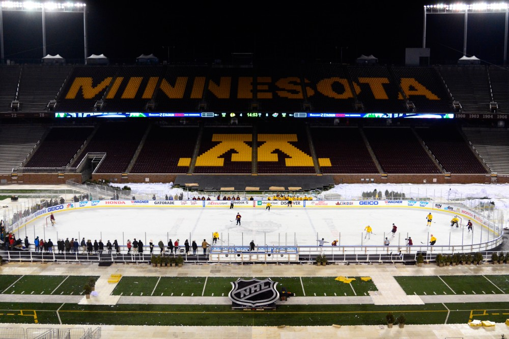 One day after the Minnesota Wild and Chicago Blackhawks faced off at TCF Bank Stadium, University of Minnesota hockey alumni, alongside other former collegiate hockey players took to the outdoor rink at the Hockey4Hypertension event.